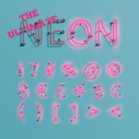 Realistic pink neon character typeset, vector
