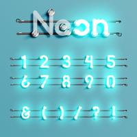 Realistic neon font with wires and console, vector illustration