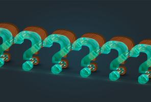 High-detailed wood and glass question mark characters, vector illustration
