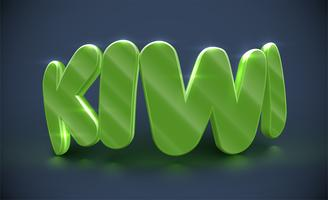 Typographie 3D - kiwi, vecteur