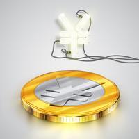Pièce de monnaie avec personnage de néon, illustration vectorielle