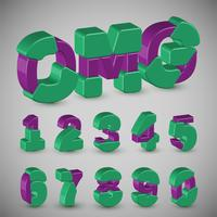 Serie di caratteri variopinta 3D da un composto, vettore