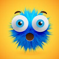 High-detailed 3D fur smiley emoticon, vector illustration