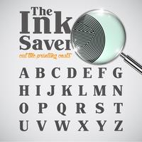 Elegant ink saver character - less ink while printing, vector