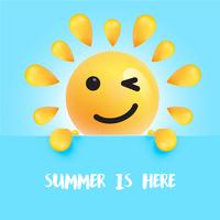 "Funny sun-smiley with the title "" ""summer is here"", vector illustration"