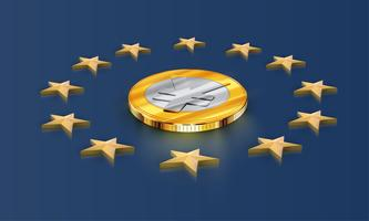 European Union flag stars and money (yen/yuan), vector
