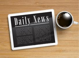 Realistic newspaper with a tablet and a cup of coffee, vector