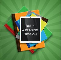 Livros coloridos e um leitor de e-book / tablet, vetor