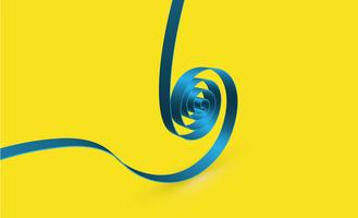 Blue swirly ribbon on yellow background, vector