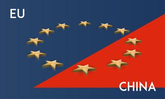 European Union and China flag merged into one, vector