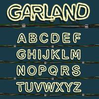 Neon garland font set, vector