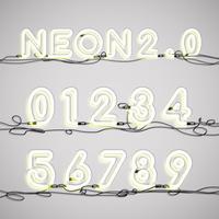 Alfabeto al neon realistico con fili, illustrazione vettoriale