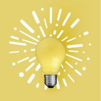Realistic matte lightbulb with abstract background, vector illustration