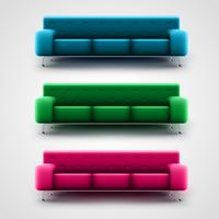 Blue, green, and pink couches, vector