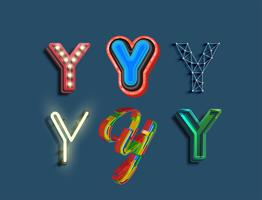 A character set of 6 different styled font, vector