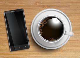 Een kopje koffie met een mobiele telefoon