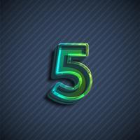Glasig 3D teckensnitt tecken, vektor illustration