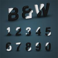 3D black and white font set, vector illustration