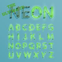 Realistic green neon character typeset, vector