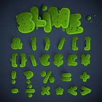Groene slijm lettertype ingesteld, vector