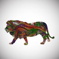 Colorful lion made by lines, vector illustration