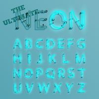 Realistisk blå neon karaktär typeset, vektor