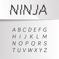 Ninja divided font, vector