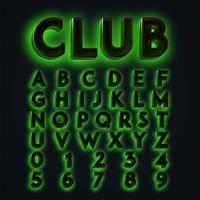 Néons verts 'CLUB', composition