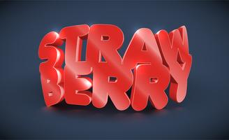 3D typography - strawberry, vector