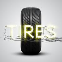 Neumáticos realistas con letrero de neón, vector