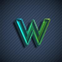 Carácter de fuente 3D vidrioso, ilustración vectorial