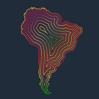 Colorful South America made by strokes, vector