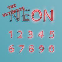 Realistisk röd neon tecken typeset, vektor