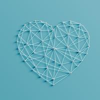 Realistic illustration of a heart made by pins and strings, vector