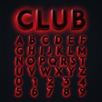 Red 'CLUB' neon lights typeset, vector