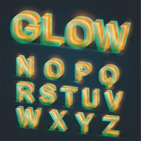 3d glowing typeset, vector