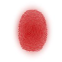 Red fingerprint on white background, vector illustration
