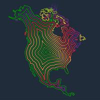 L'Amérique du Nord coloré faite par coups, vector