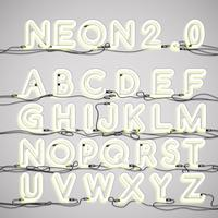 Realistic neon alphabet with wires, vector illustration