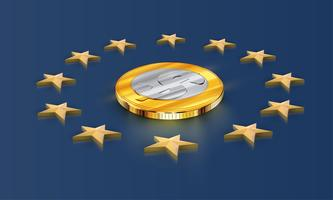 European Union flag stars and money (dollar), vector