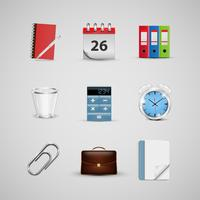 Realistic office icons, for web, vector