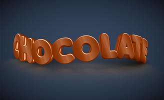 3D typography - chocolate, vector
