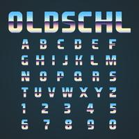 OLDSCHL retro font set, vector