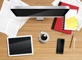 Realistic office desk with different objects, vector illustration