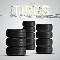 Realistische Reifen mit Leuchtreklame, Vektor