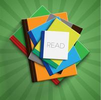 Libros realistas de colores con fondo verde y sombra, ilustración vectorial