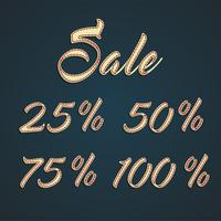 Plaques en cuir '25 -50-75-100% Sale ', illustration vectorielle