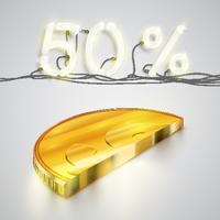 Mezza moneta realistica con percentuale al neon, illustrazione vettoriale