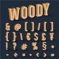 3D hout lettertype ingesteld, vector