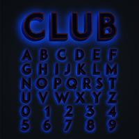 Blue 'CLUB' neon lights typeset, vector